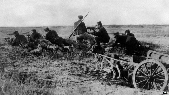 A Belgian machine gun detachment near Haelen, August 1914