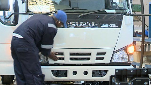 A worker at a General Motors' plant in Kenya