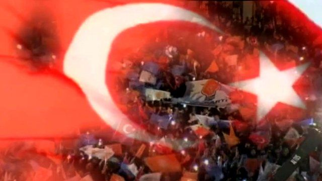Turkish flag over crowd