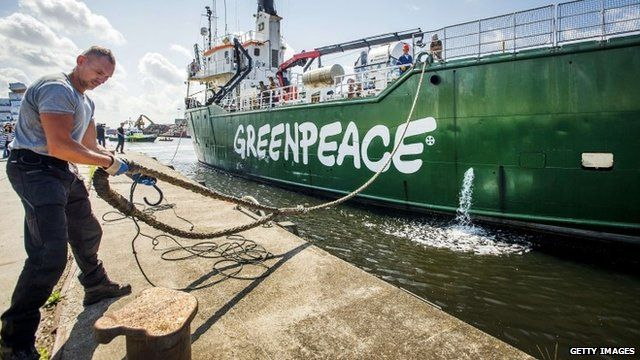 Greenpeace's ice breaker Arctic Sunrise docks in Beverwijk, the Netherlands