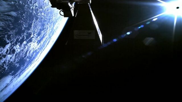 Planet Earth and the sun from space