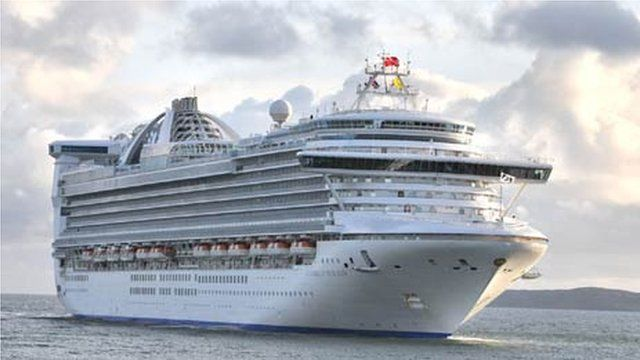 The Caribbean Princess docking in Holyhead recently