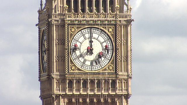 Cleaners on the clock face of Big Ben