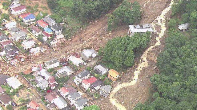 Buildings damaged by a landslide