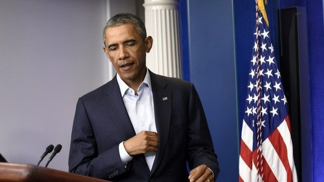 Barack Obama, pictured in the White House press briefing room on 18 August