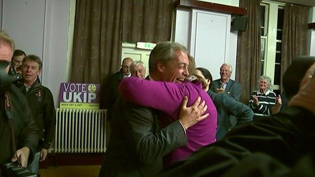 Nigel Farage celebrating with another UKIP supporter
