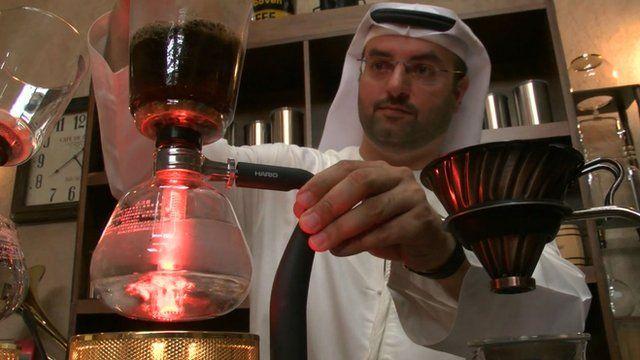 Khalid Al Mulla making coffee