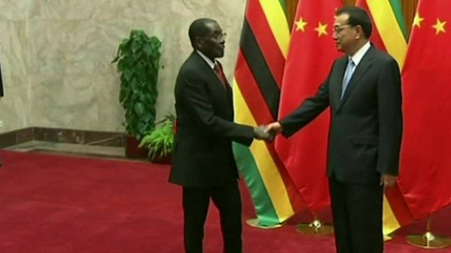 Presidents Robert Mugabe and Xi Jinping