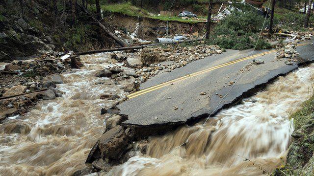 A flood-damaged road in Boulder County. Colorado, in September 2013