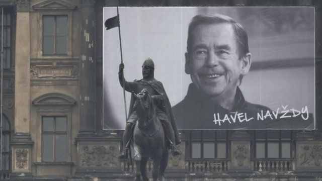 Poster of by Vaclav Havel by statue of St Wenceslas