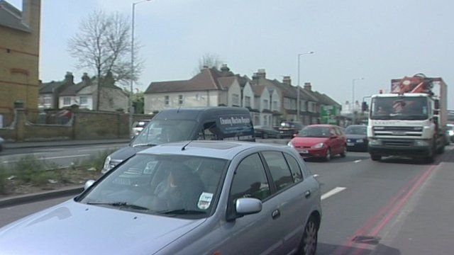 Cars on a busy road