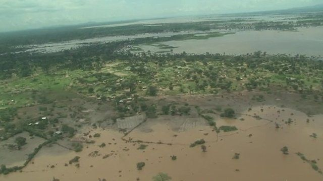 Aerial view of flooded land