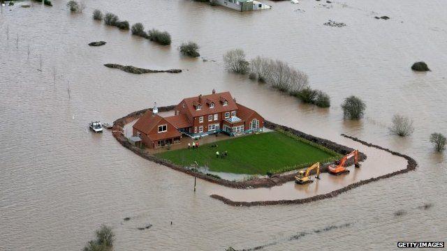 Flood defences around a house