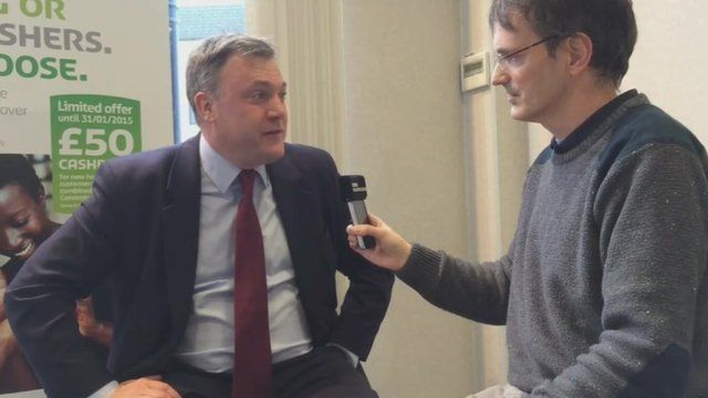 Ed Balls talking to BBC Radio Leeds reporter in January 2015