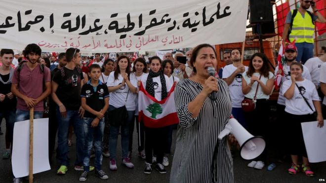 Anti-government protest in Beirut on 29 August 2015