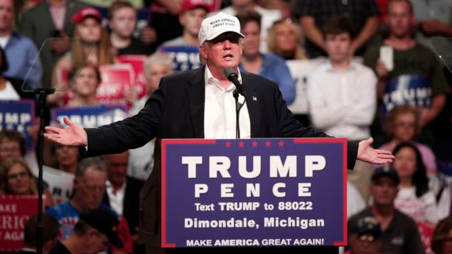 Republican presidential nominee Donald Trump speaks at a campaign rally
