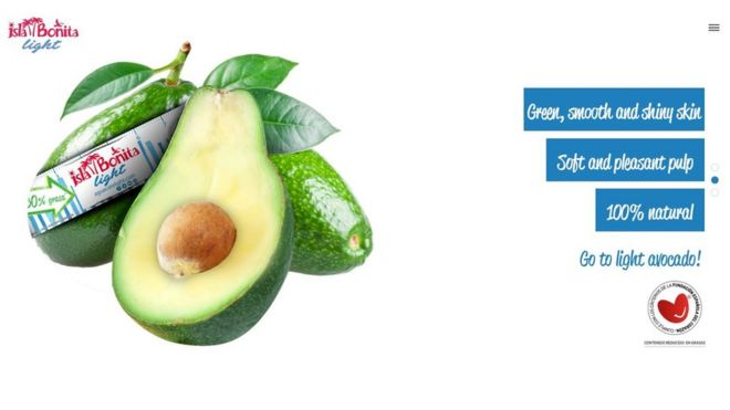 Advert for avocado 'green, smooth and shiny skin' 'soft and pleasant pulp'
