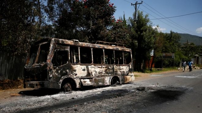 A torched bus in the Sebeta region of Ethiopia, 8 October