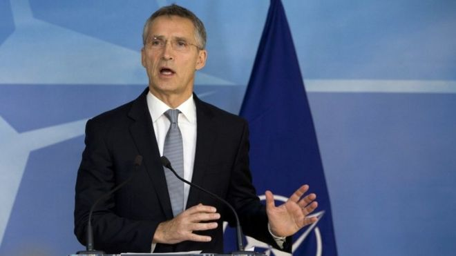 NATO Secretary-General Jens Stoltenberg answers questions about the U.S. presidential election at the NATO headquarters in Brussels on Wednesday, Nov. 9, 2016