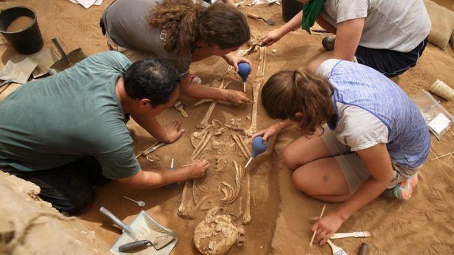 Time de arqueólogos extrai esqueletos da escavação em 28 de junho de 2016