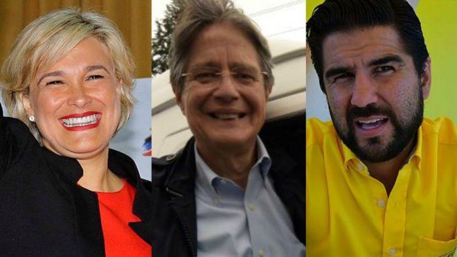Tres de los candidatos: Cynthia Viteri (Partido Social Cristiano), Guillermo Lasso (Alianza por el Cambio) y Abdalá (Dalo) Bucaram (Fuerza Ecuador)
