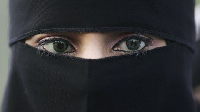 A woman wearing a niqab