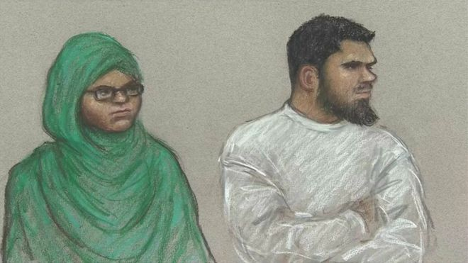 Court sketch of Rowaida El-Hassan and Munir Hassan Mohammed