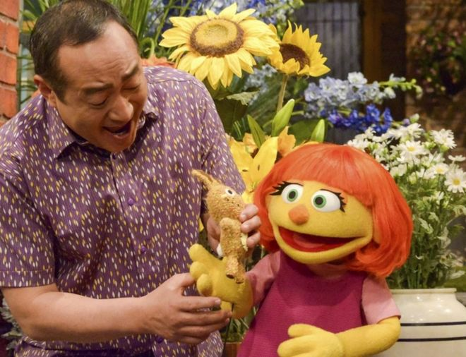 "This image released by Sesame Workshop shows Julia, a new autistic muppet character debuting on the 47th Season of ""Sesame Street,"" on April 10, 2017, on both PBS and HBO."