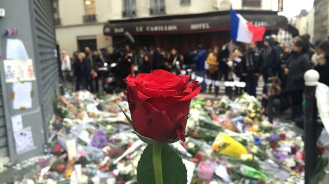 Flowers left outside Le Carillon bar in Paris. 17 Nov 2015