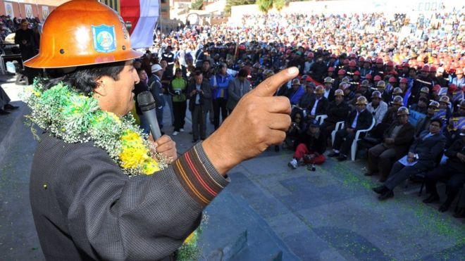 Evo Morales en una concentración cooperativista en 2016