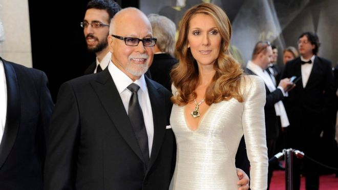 A file picture dated 27 February 2011 shows Canadian singer Celine Dion (R) and husband, Rene Angelil arriving for the 83rd annual Academy Awards