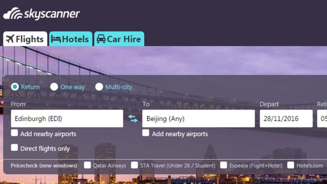 A screengrab of the Skyscanner website
