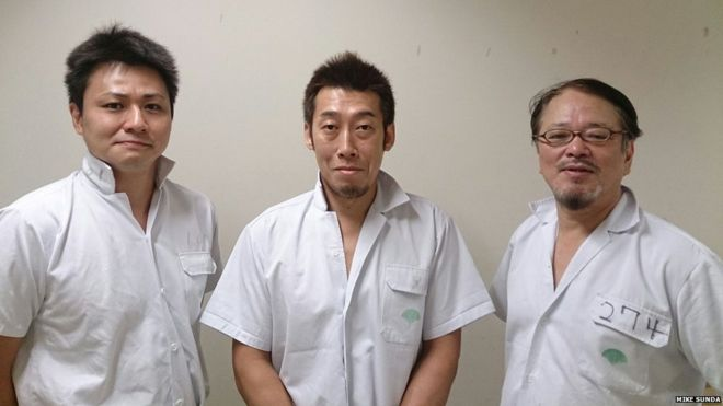 Abattoir workers at the Shibaura meat market