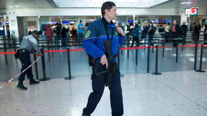 Armed police at Geneva Airport on 12 December 2015