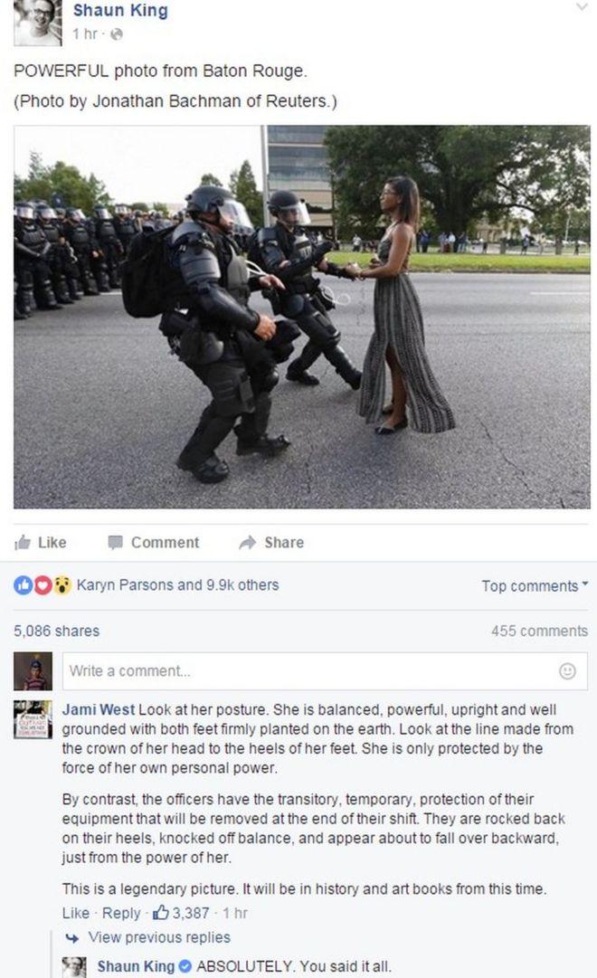 Post de Shaun King já teve milhares de compartilhamentos e curtidas