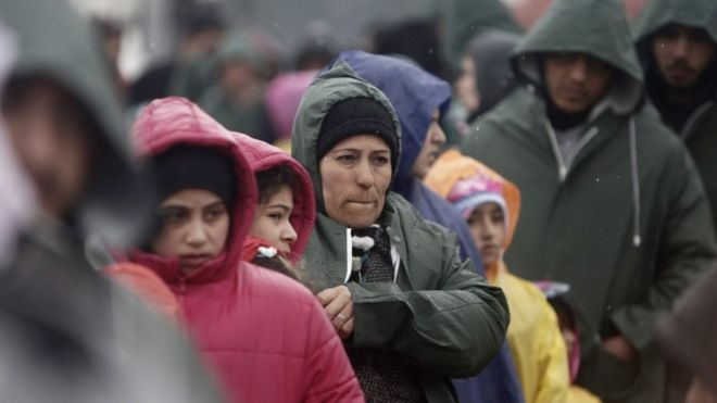 Migrants on the Greece-Macedonia border, 9 March