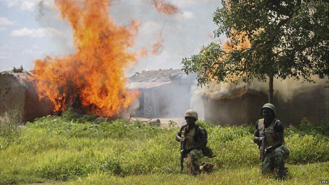 Nigerian soldiers clearing Boko Haram camps at in Borno State, Nigeria - 30 July 2015