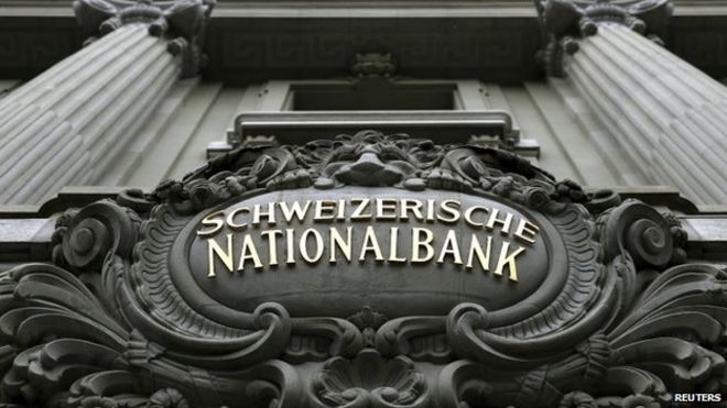 The logo of the Swiss National Bank (SNB