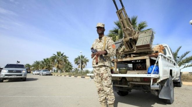 Security force member protecting Libyan unity government
