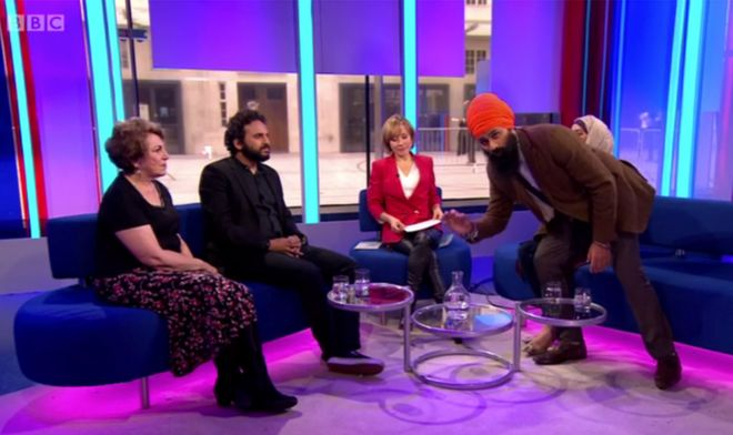 Jagmeet Singh jumped in front of the camera during BBC One's Sunday Morning Live programme to protest what he said was the lack of coverage of the Sikh protests and deaths