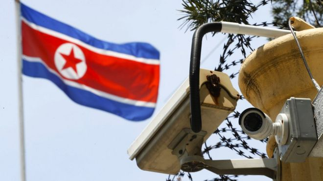 A CCTV surveillance camera is attached by the entrance gate at the North Korean Embassy in Kuala Lumpur, Malaysia, Monday, 13 March 2017