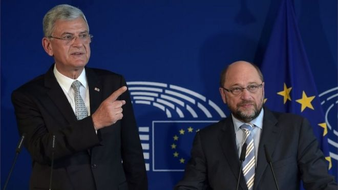Volkan Bozkir, Turkish Minister for EU Affairs, (left) and Martin Schultz, President of European Parliament, in Strasbourg. Photo: 11 May 2016