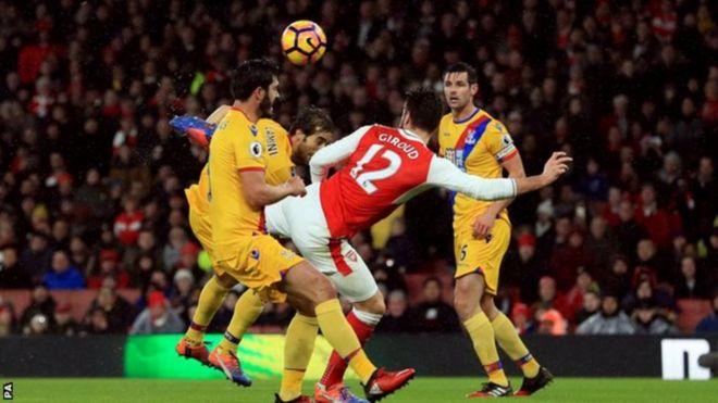 Mshambuliaji wa wa Arsenal Olivier Giroud na bao lake la nge dhidi ya Crystal palace