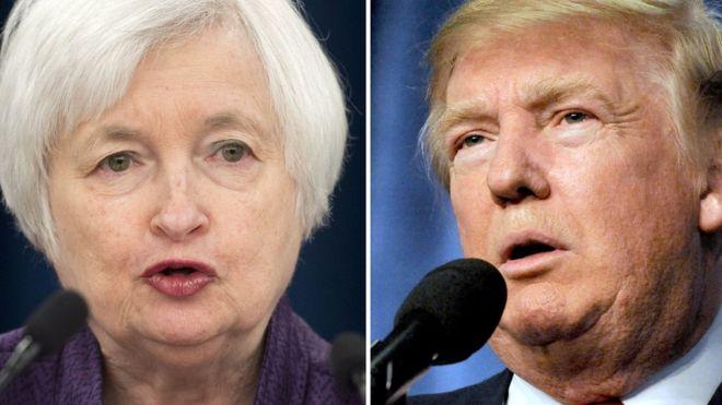 Janet Yellen y Donald Trump