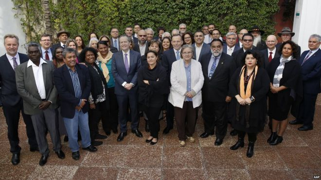 Australian PM Tony Abbott, Labor leader Bill Shorten and 40 Indigenous Australian leaders gather in Sydney to discuss the constitution, July, 2015