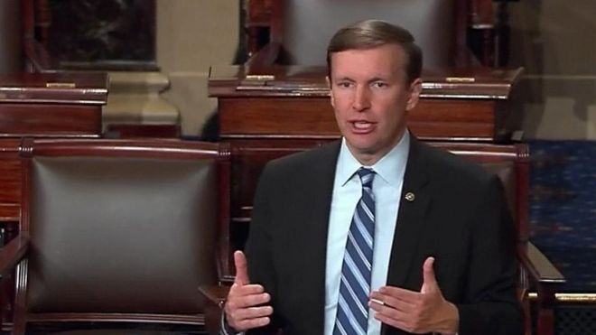 Sen Chris Murphy on the floor of the Senate in Washington, Wednesday, June 15, 2016
