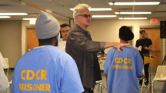 Tim Robbins with inmate-actors