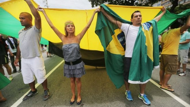 Anti-corruption demonstrators along Copacabana beach in Rio de Janeiro