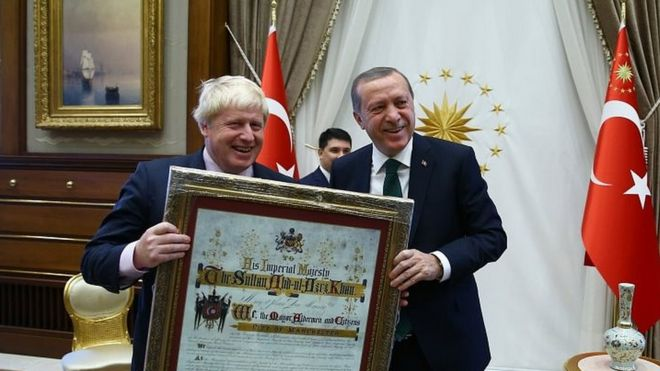Boris Johnson with President Recep Tayyip Erdogan in September in Ankara