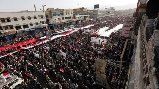 Houthis celebrate the first anniversary of their takeover of Sanaa, 21 Sept